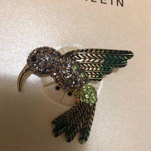 Anne Klein Jewelry - Anne Klein Gold-Tone Multi-Crystal Hummingbird Pin